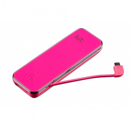 KitVision Fashion PWR4500- acumulator extern 4500 mAh cu cititor MicroSD roz