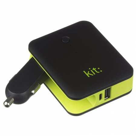 KitVision Travel Power PWRCC3 - Incarcator portabil universal auto cu lanterna incorporata, 3000 mAh Negru