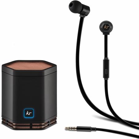 Kitsound Hive - Boxa portabila bluetooth, NFC + Casti In-Ear, Microfon