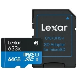 Lexar microSDXC 633x - 64GB, clasa 10, UHS-I U1 + Adaptor SD