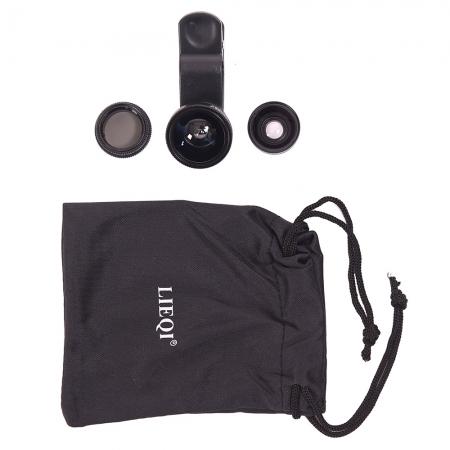 Lieqi LQ-008 - set 4in1 lentile conversie pentru smartphone - negru