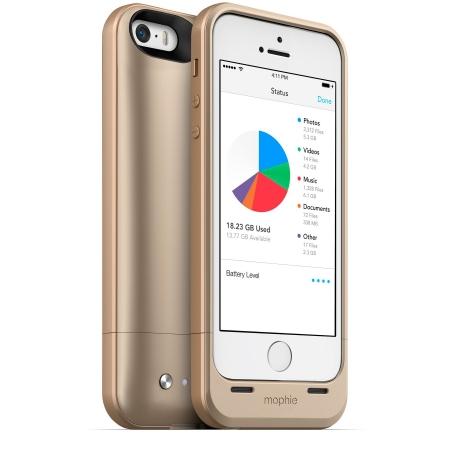 Mophie iPhone 5s / 5 space pack - Husa cu acumulator 1700mAh si memorie 16GB - auriu