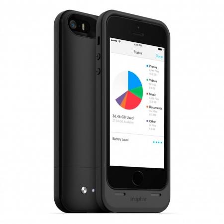 Mophie iPhone 5s / 5 space pack - Husa cu acumulator 1700mAh si memorie 32GB - negru