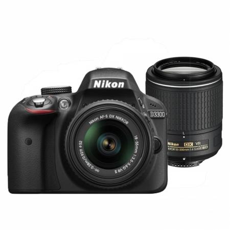 Nikon D3300 Dual Zoom Kit (AF-P 18-55 VR + 55-200 VRII) negru