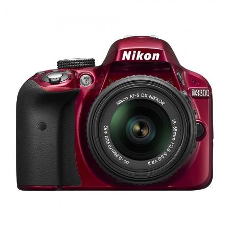 Nikon D3300 kit 18-55mm VR II AF-s DX rosu
