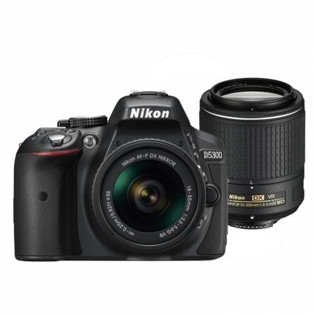 Nikon D5300 Dual Zoom Kit (AF-P 18-55 VR + 55-200 VRII) negru