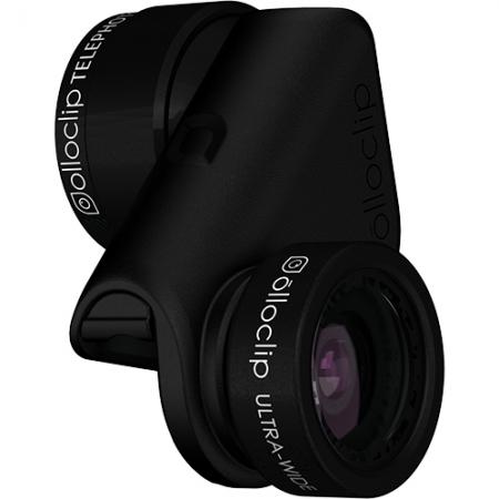 OLLOCLIP Active Lens - kit lentile ultra-wide si tele iPhone 6 si 6 Plus - negru