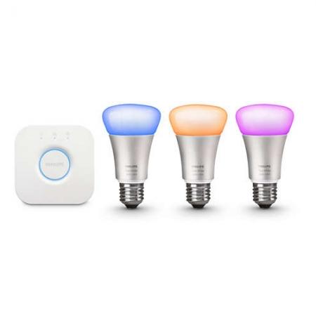 Philips HUE A60 - Kit becuri inteligente LED , E27 10W, Wi-Fi, ambianta alba si color, 3 buc