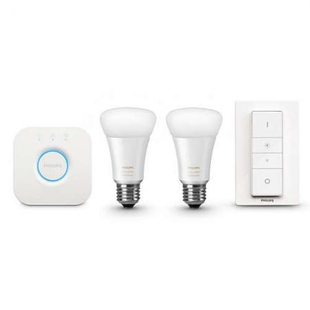 Philips HUE A60 - Kit becuri inteligente LED, E27 9,5W, Wi-Fi, ambianta alba, 2 buc