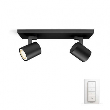 Philips HUE Runner - Bara cu 2 spoturi, bec LED GU10, 2x5.5W, Wi-Fi, lumina alba reglabila + intrerupator, Negru