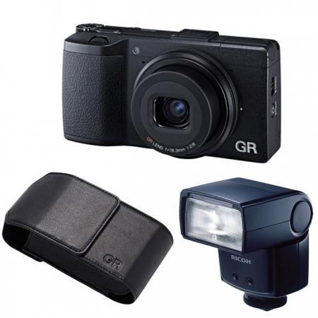 Ricoh GR V negru GF-1 External TTL Flash si GC-5 Case RS125017075