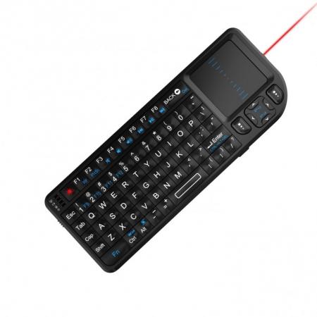 Rii RTMWK01 - Mini tastatura wireless cu touchpad, Smart TV, Smartphone, PC, cu laserpoint pentru prezentari