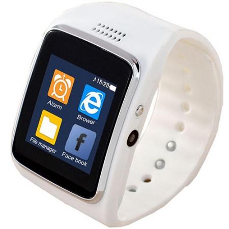 STAR City K262 - Smartwatch Carcasa Aluminiu Argintiu si Curea Silicon Alb