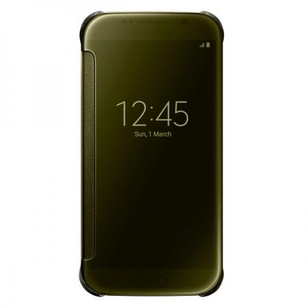 Samsung EF-ZG920 - husa tip agenda clear view pt S6 - auriu