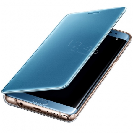 Samsung EF-ZN930CLEGWW - Husa Clear Clear View pentru Samsung Note 7, Albastru