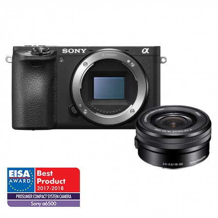 Sony Alpha A6500 kit 16-50mm F3.5-5.6 OSS, Wi-Fi, NFC, Negru