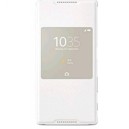 Sony SCR42 Husa piele eco flip s-view - Sony Xperia Z5, alb