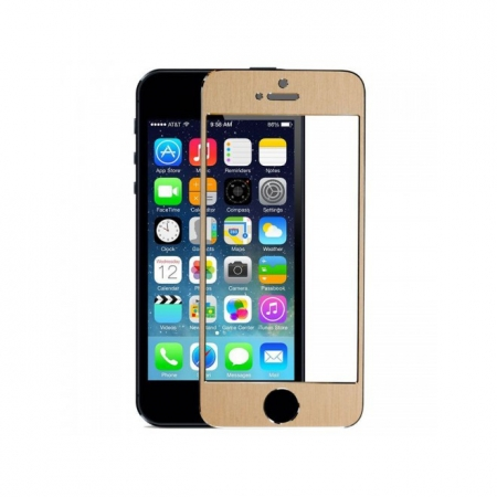 Tempered Glass - Folie protectie sticla securizata iPhone 5 / 5S / 5C - Gold aluminium