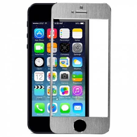 Tempered Glass - Folie protectie sticla securizata iPhone 5 / 5S / 5C - Silver aluminium