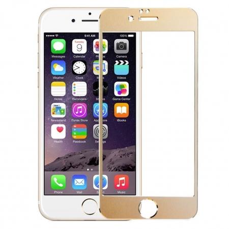 Tempered Glass - Folie protectie sticla securizata iPhone 6 - Gold aluminium