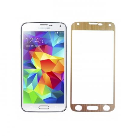 Tempered Glass - folie sticla pentru Samsung Galaxy S5 - aluminiu auriu