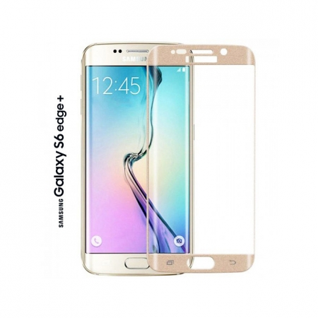Tempered Glass - folie sticla pentru Samsung Galaxy S6 Edge Plus auriu