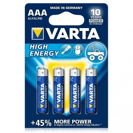 Varta HighEnergy - baterie alcalina R3 - AAA, 4 bucati/ blister