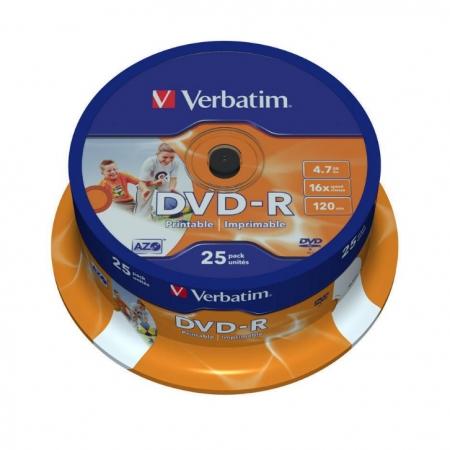 Verbatim DVD-R AZO, 4.7GB, 16X, printabil, 25 bucati