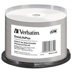 Verbatim DVD-R AZO, 4.7GB, 16X, waterproof printabil, 50 bucati
