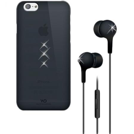 White Diamonds - Husa capac spate + casti in ear pentru Iphone 6 - negru