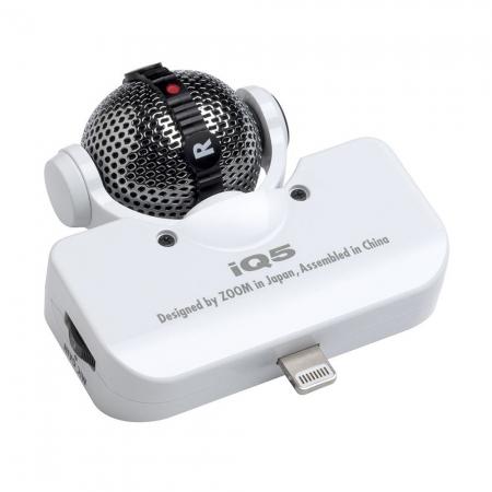 ZOOM iQ5 alb - microfon stereo pentru iPhone 5