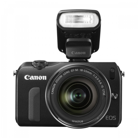 Canon EOS-M + 18-55mm IS STM - negru ( blitz 90EX inclus )
