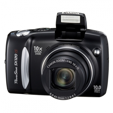 Canon PowerShot SX120 IS Negru - 10 MPx, Zoom optic 10x, LCD 3.0