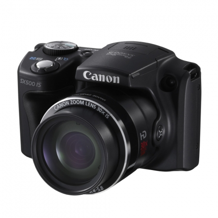 Canon SX500 IS negru - 16mpx, zoom optic 30x, LCD 3