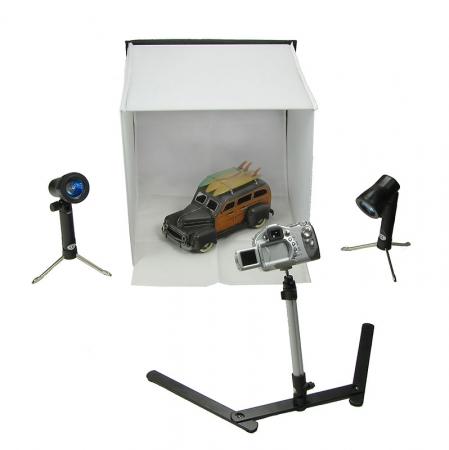 Fancier PB05 - Cub 40cm pliabil cu lampi si trepied, solutia de studio portabila pentru fotografia de produse.