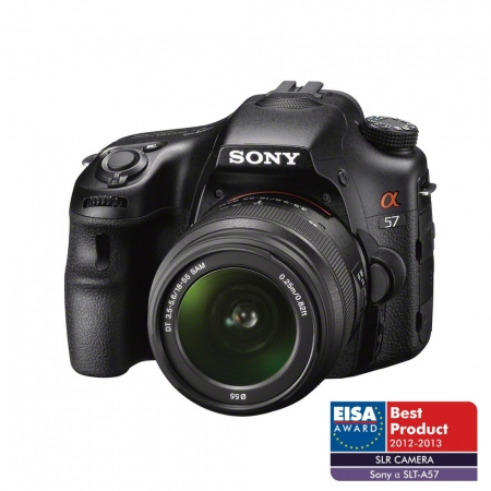 Sony Alpha SLT-A57 + obiectiv 18-55mm - 16.1 MPx, 12fps, filmare FullHD