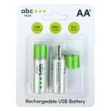 ABC TECH Baterie AA Ni-MH Reincarcabila 1450mAh cu USB