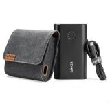 Anker PowerCore+ - Baterie externa,10050 mAh, Qualcomm Quick  Charge 2.0, Negru + Husa premium