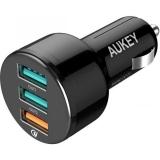 Aukey CC-T11 - Incarcator auto, 3 sloturi USB, negru