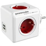 Power Cube - Incarcator Priza cu 4 Porturi, 2xUSB, 5V, 2 .1A, Rosu